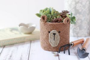 Crochet Teddy Bear Pot Cover Pattern