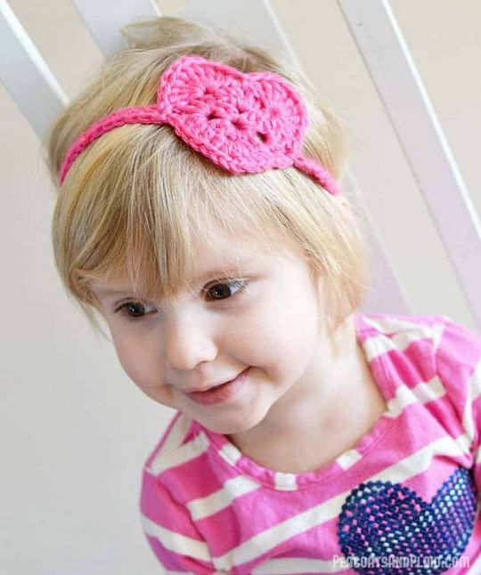 Kids Crochet Heart Headwrap