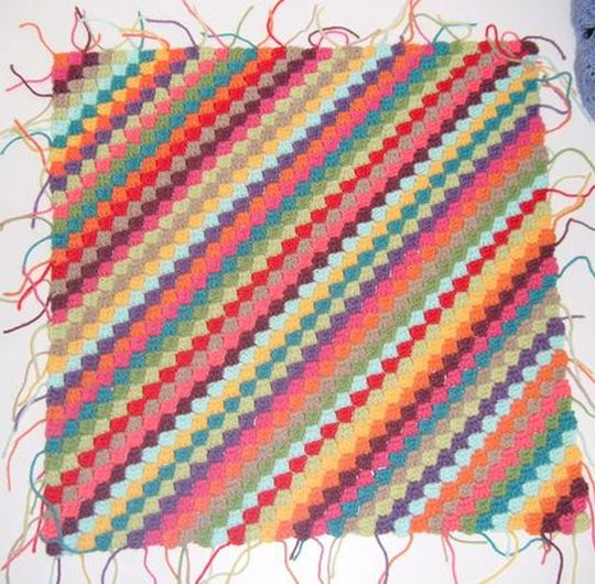 Rainbow Diagonal Stitched Afghan Baby Blanket
