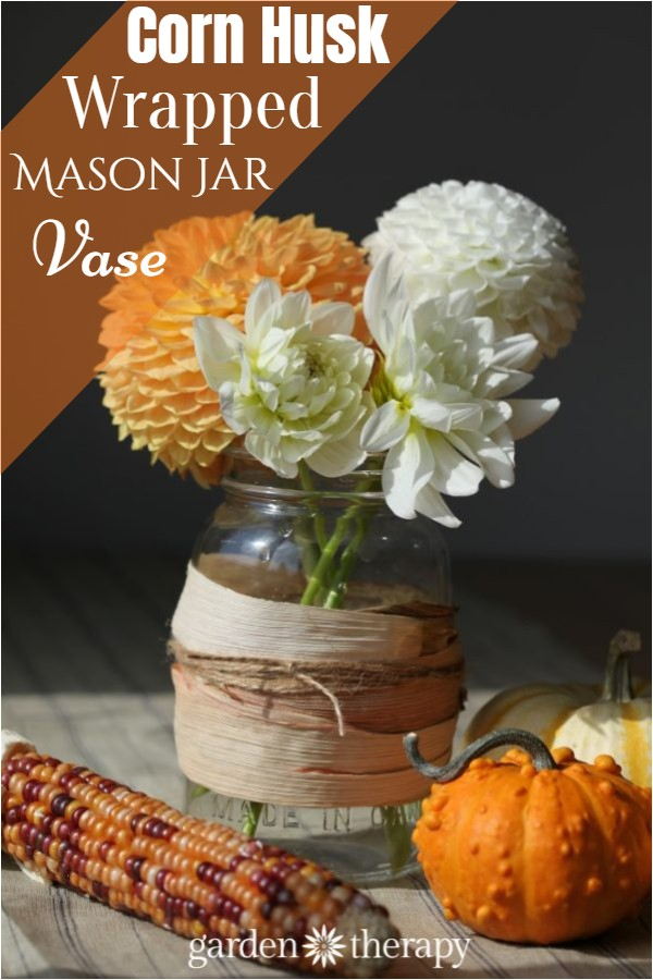 Corn Husk Wrapped Mason Jar Vase