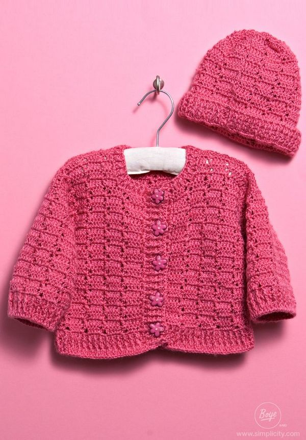 Crochet A Baby Sweater And Hat For Your Little One Using Free Crochet Patterns