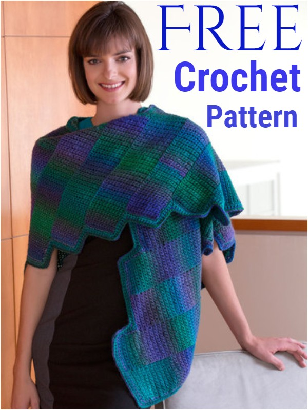 Crocheted Gradient Strips Shawl
