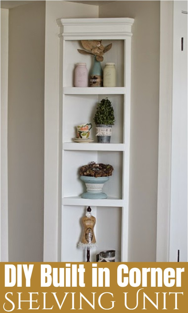 DIY Built in Corner Shelving Unit