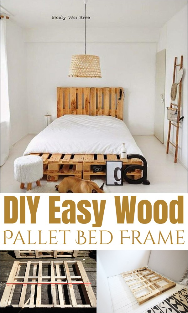 DIY Easy Wood Pallet Bed Frame