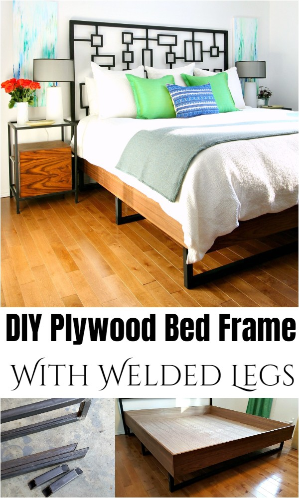 DIY Plywood Bed Frame With Welded Legs