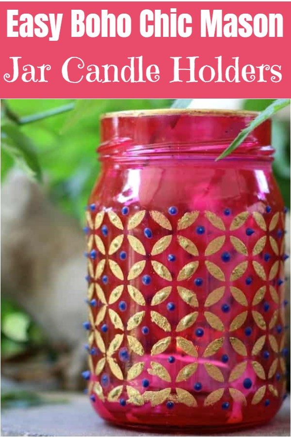 Easy Boho Chic Mason Jar Candle Holders