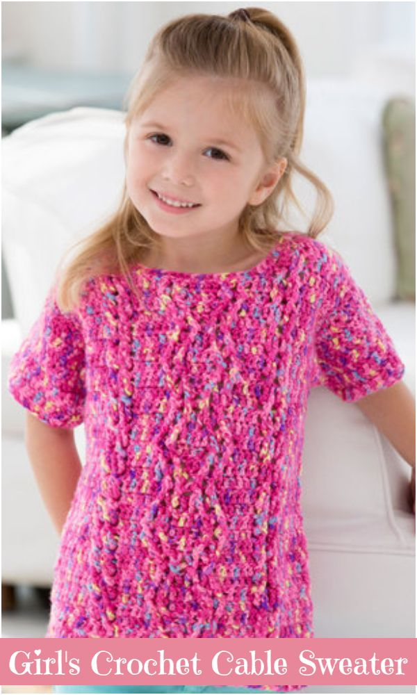 Girl's Crochet Cable Sweater