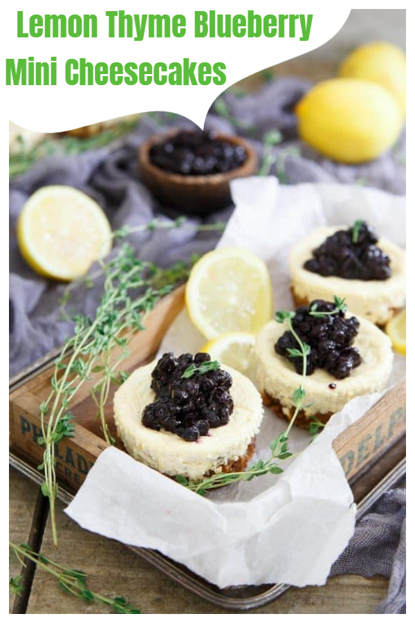 Lemon Thyme Blueberry Mini Cheesecakes