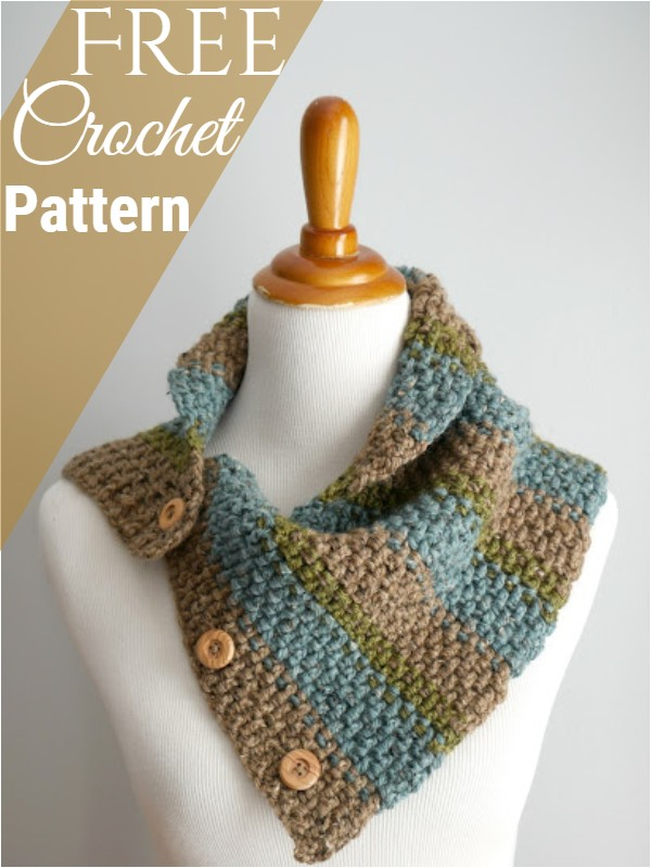 Rustic Tweed Button Cowl Free Crochet Pattern