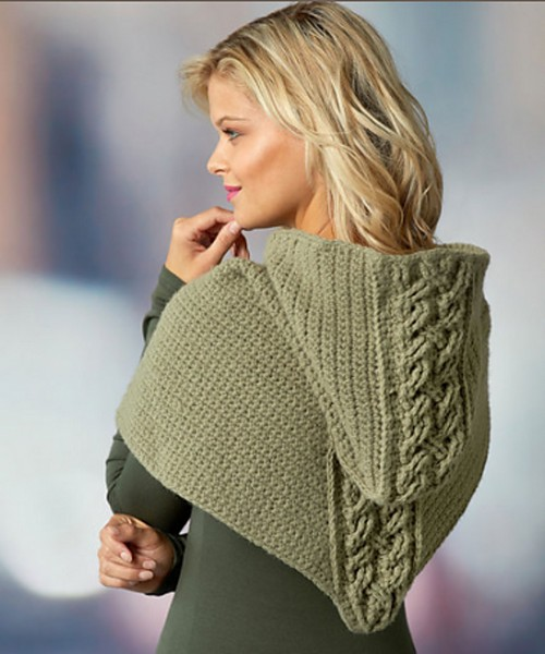 Crochet Cabled Hooded Cowl