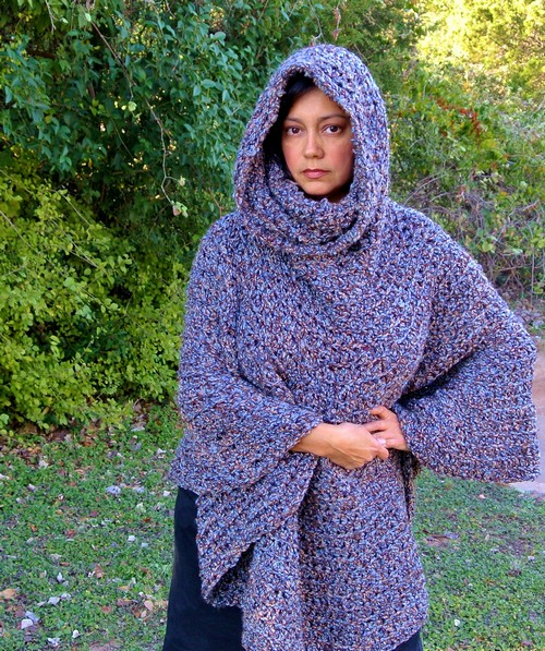 Crochet Cowl Hooded Capelet Poncho