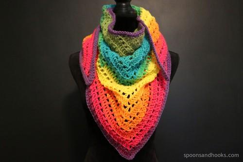 Crochet One Mandala Cake Triangle Scarf