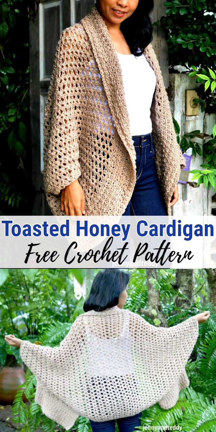 Toasted Honey Cocoon Cardigan Free Crochet Pattern