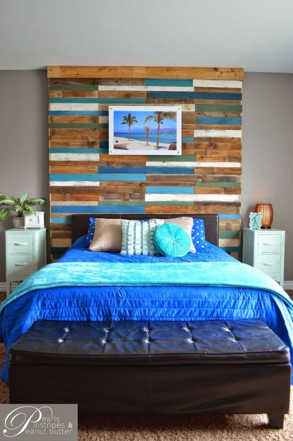 Colorful And Rustic Plank Headboard Wall