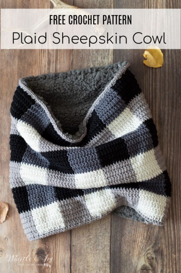 Easy Crochet Plaid Sheepskin Cowl