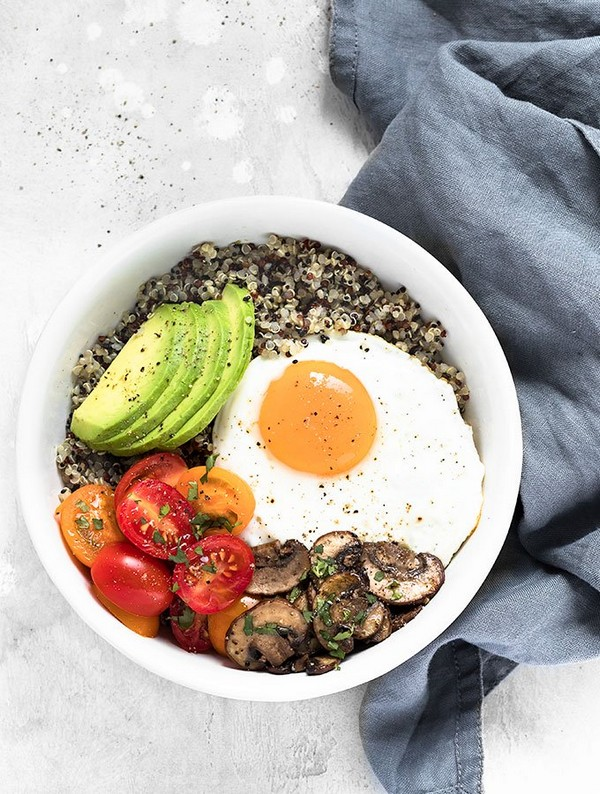 Healthy Breakfast Bowl With Egg And Quinoa