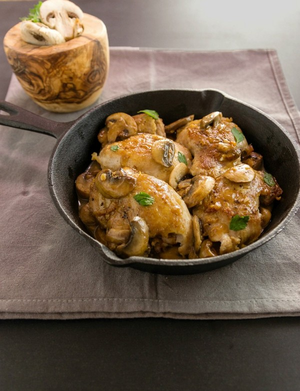 One Pan Chicken Garlic Mushroom Saute