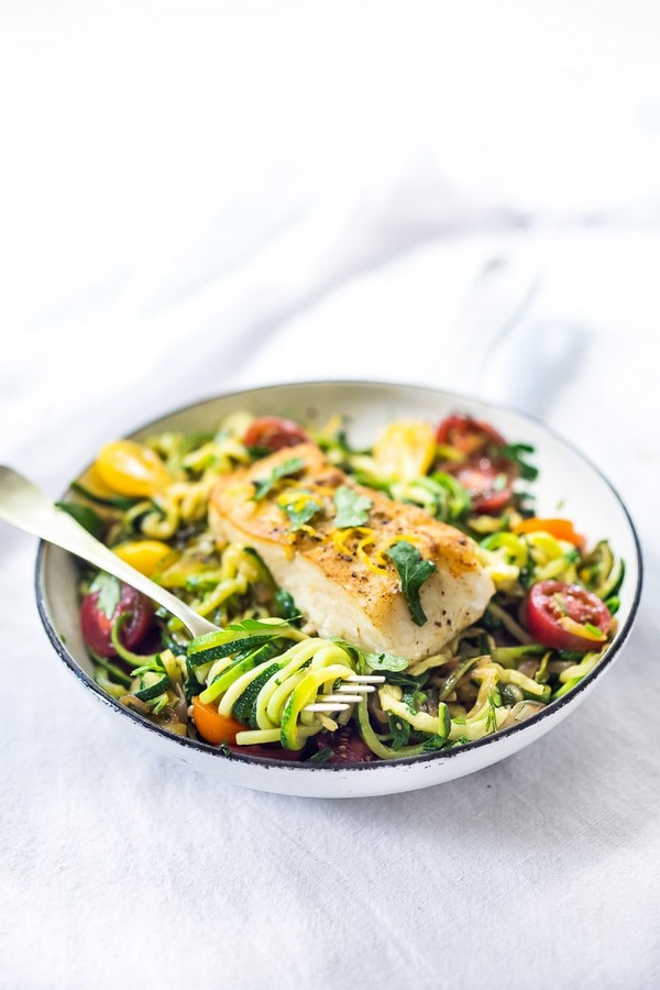 Pan Seared Halibut With Lemony Zucchini Noodles