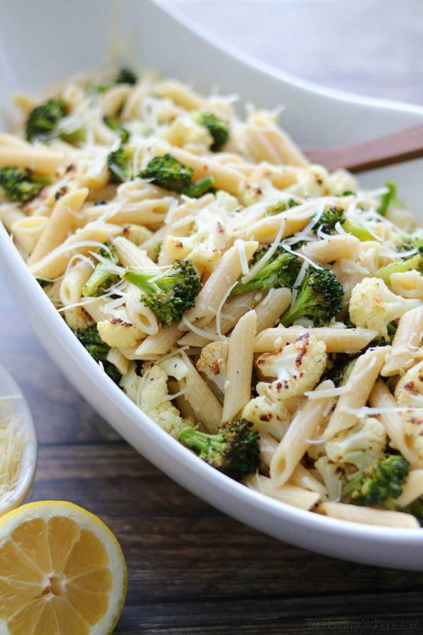 Roasted Broccoli And Cauliflower Pasta With Parmesan Lemon And Garlic