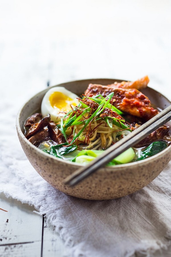 Spicy Miso Ramen With Chili Roasted Salmon