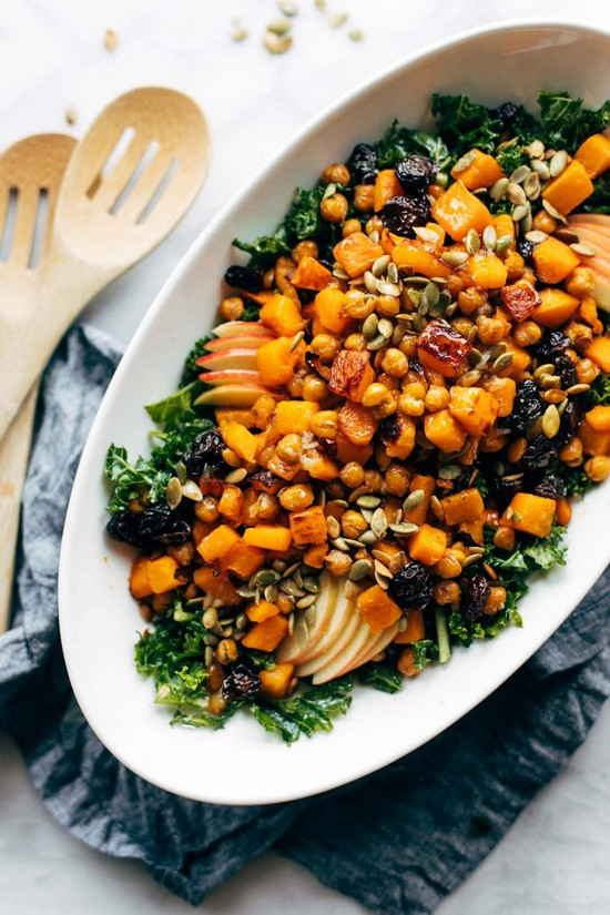 Squash Salad With Kale And Roasted Garlic Dressing Recipe