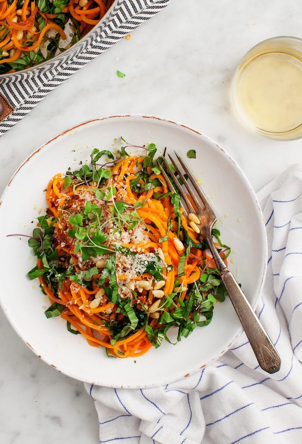 Sweet Potato Noodles With Garlic & Kale