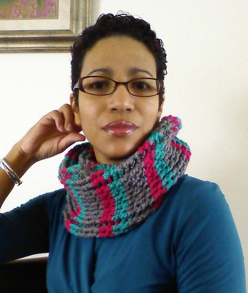 Crochet Cables & Stripes Cowl