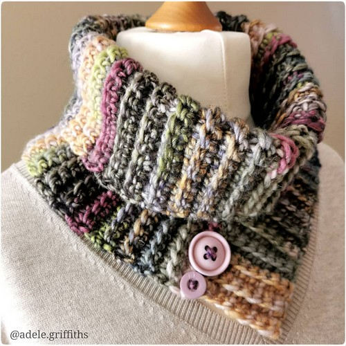 Crochet Ribbed Roll Neck Cowl