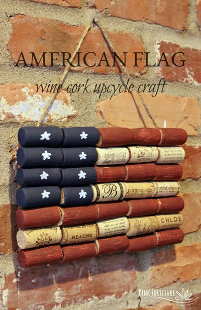 American Flag DIY Wine Cork Upcycle Craft