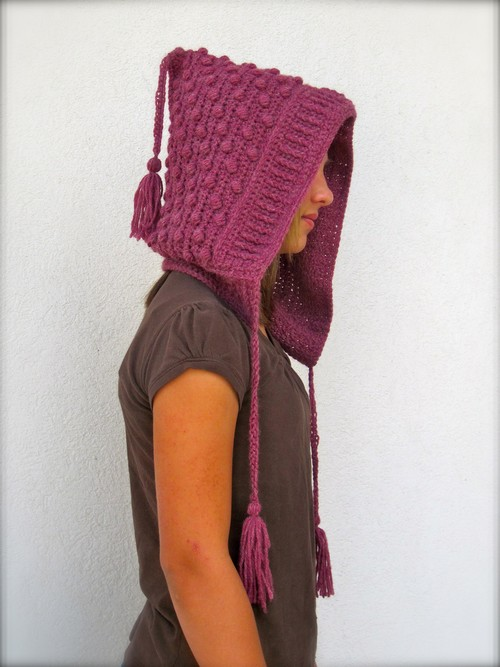 Crochet Bobble Hood With Tassels