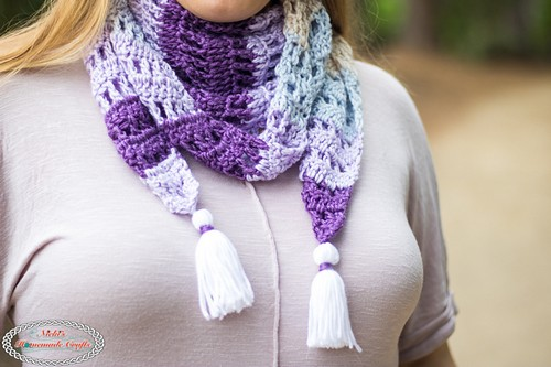 Crochet Diamond Scarf With Tassels