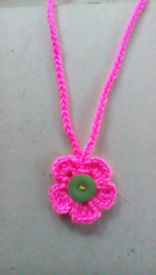 Crochet Necklace With Flower Pendant