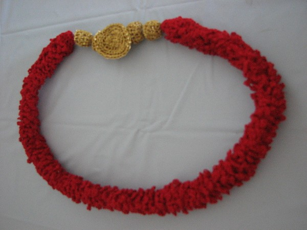 Crochet Red Loops Necklace