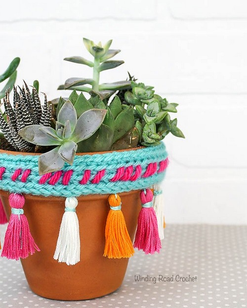 Crochet Tassel Plant Pot Rim Cover