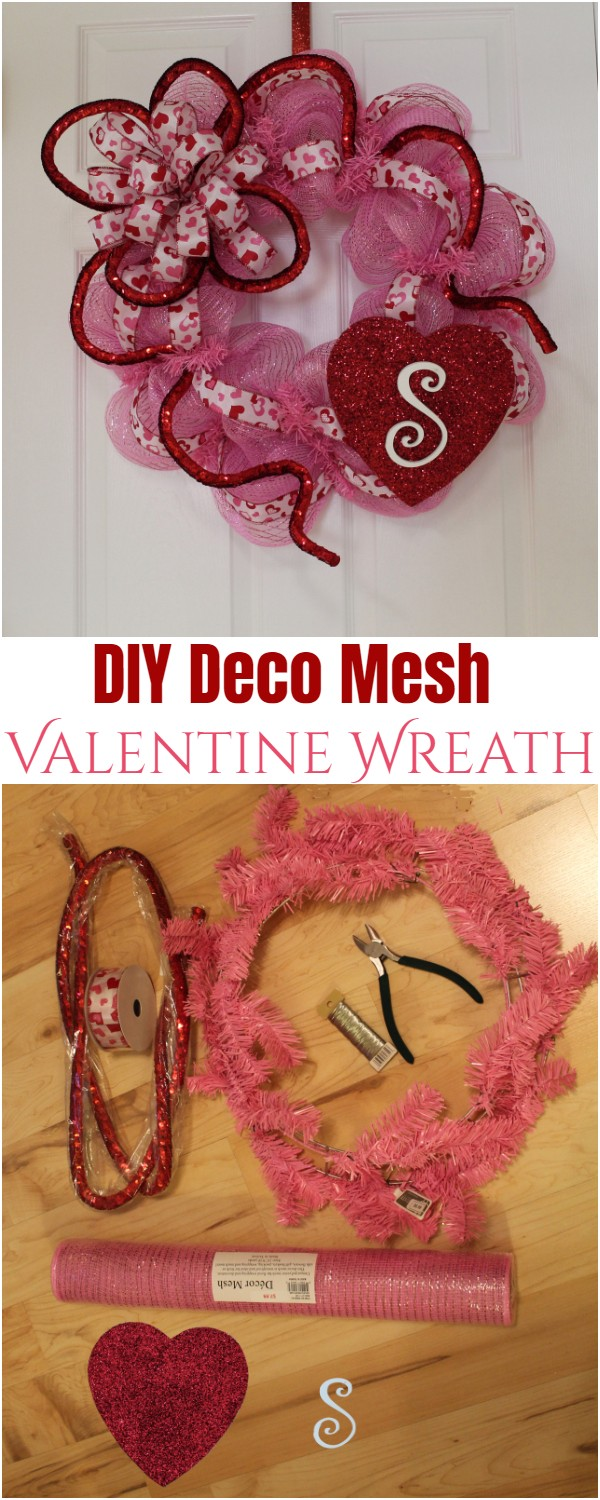 DIY Deco Mesh Valentine Wreath