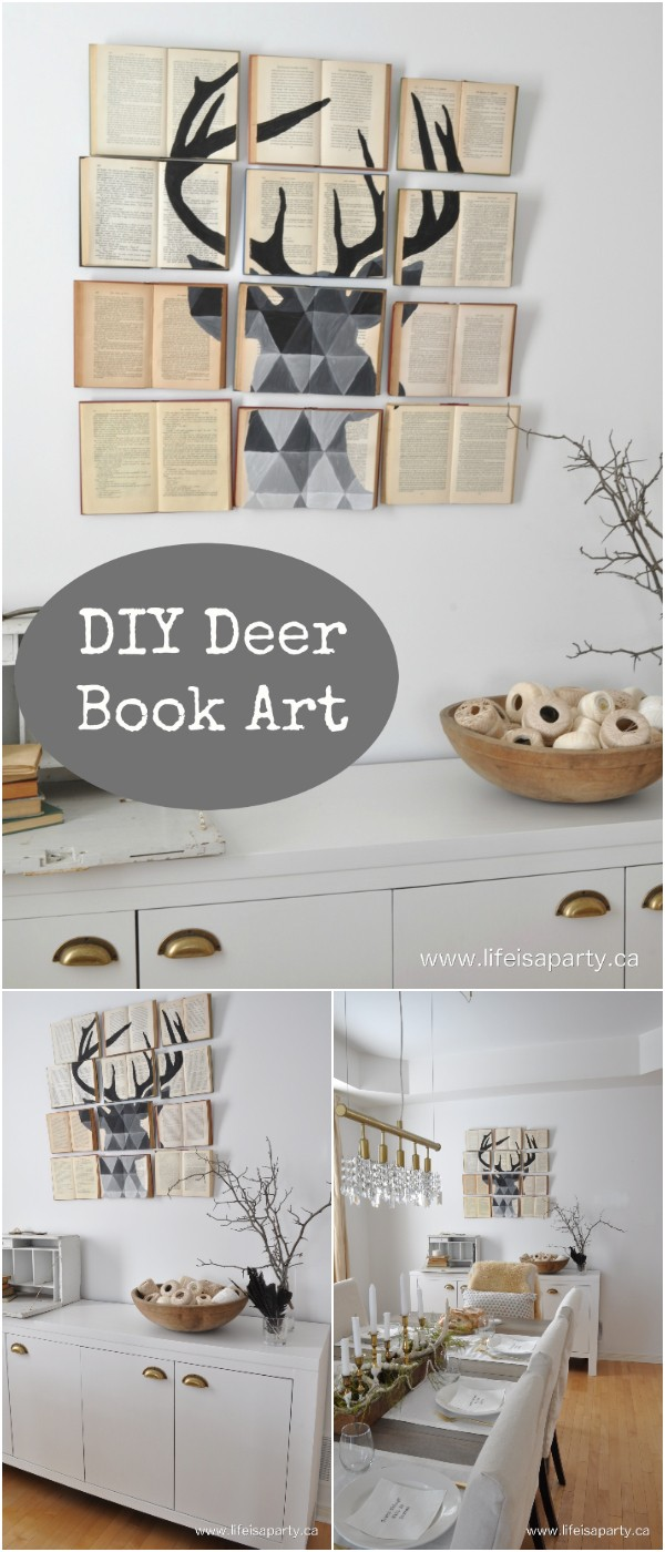 DIY Deer Book Art