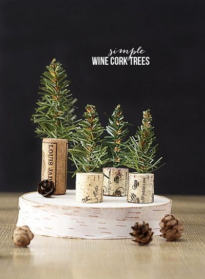 DIY Simple Wine Cork Trees Idea