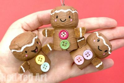 DIY Wine Cork Gingerbread Man Ornament Idea