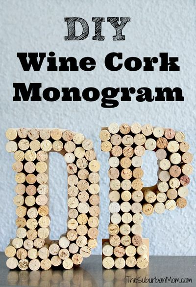 DIY Wine Cork Monogram Craft Idea
