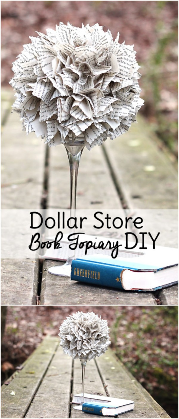 Dollar Store Book Topiary DIY