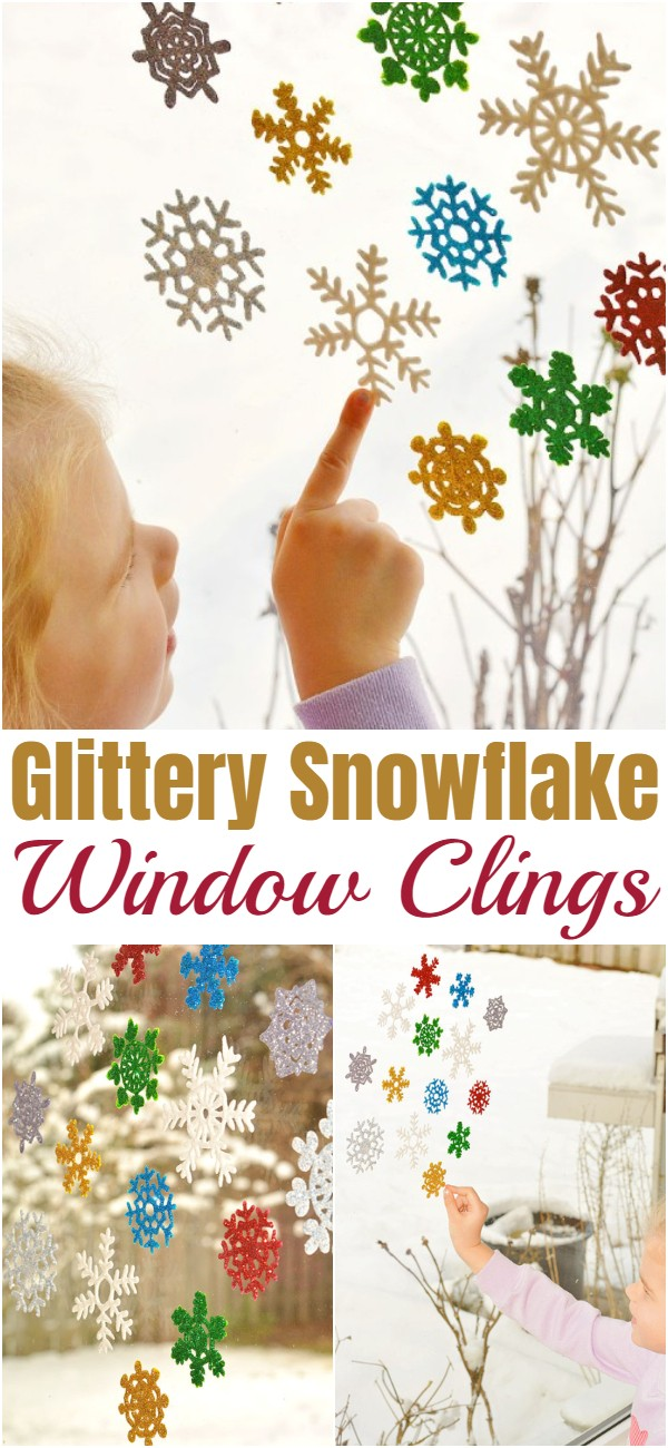 Glittery Snowflake Window Clings
