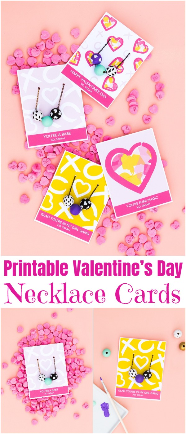 Printable Valentine's Day Necklace Cards