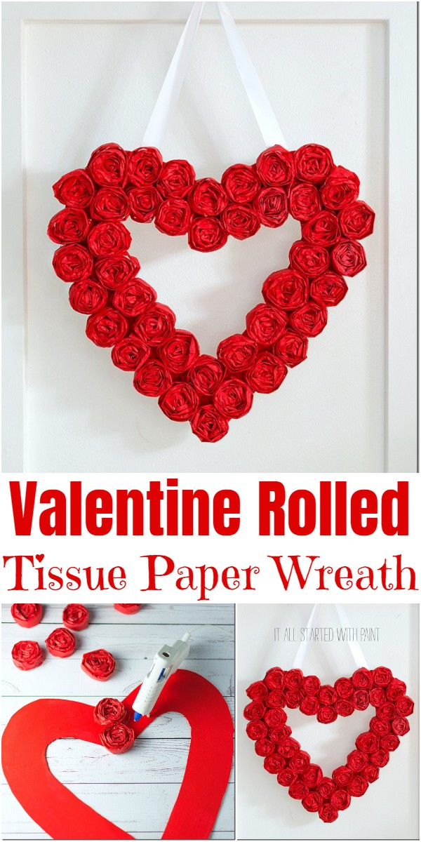 Valentine Rolled Tissue Paper Wreath