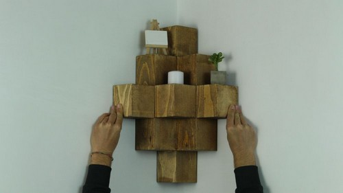 Build A Novel Wood Cube Corner Shelf
