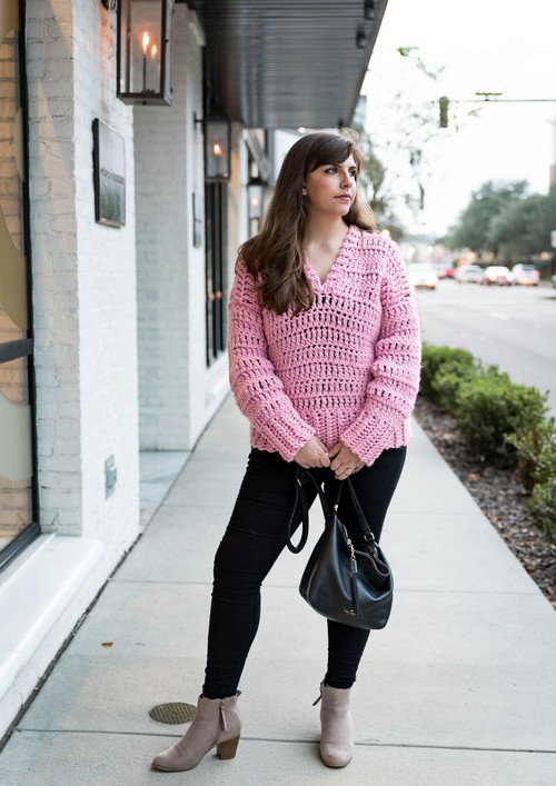 Crochet Bubblegum Pullover Sweater