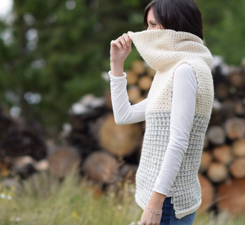 Crochet Easy Cowled Sweater Vest