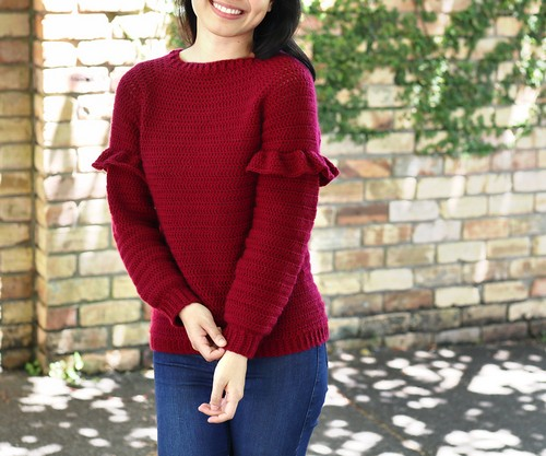 Crochet Holly Berry Ruffle Sweater