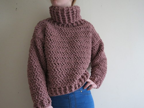 Crochet Oversized Turtleneck Sweater