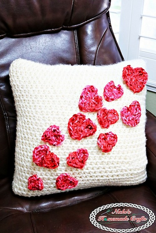 Crochet Pillow Case With Flying Hearts