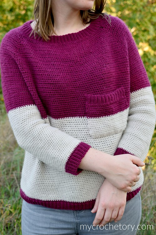 Crochet Pocket Raglan Sweater